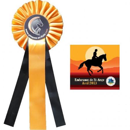 Ensemble flot cocarde plaque en promotion concours chevaux equitation poneys equestre canin