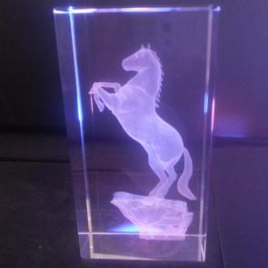 Trophée verre 3D cheval cabré concours hippique recompense