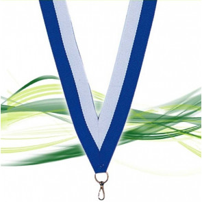 Ruban de médaille bleu foncé et blanc