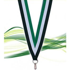 Ruban pour médaille noir blanc et vert