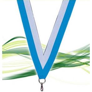 Ruban pour médaille bleu clair et blanc