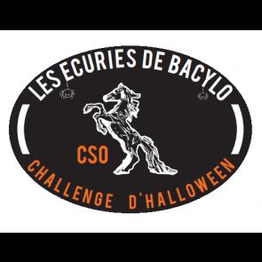 design de halloween pour flot et plaque de concours equitation