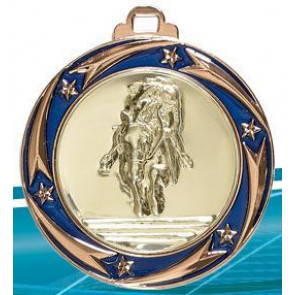 Medaille bleue tout sport grande equitation hippique cheval poneys