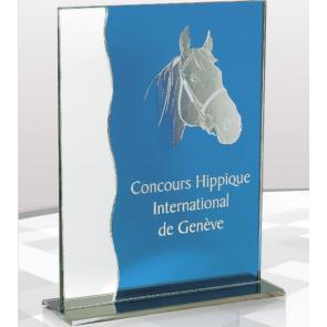 Trophée verre gravure personnalisée équitation chevaux cheval